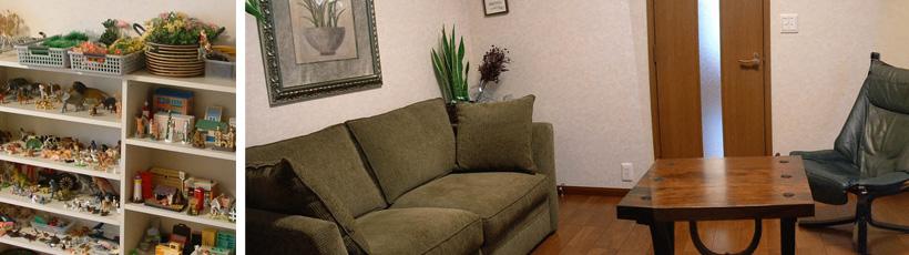 当室には落ち着いた雰囲気の面接室と子どものための面接室